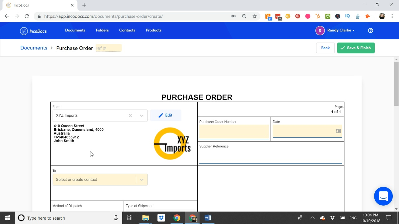 how to create a proforma invoice and purchase order documents