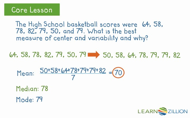 Choose the best measure of center and variability | LearnZillion