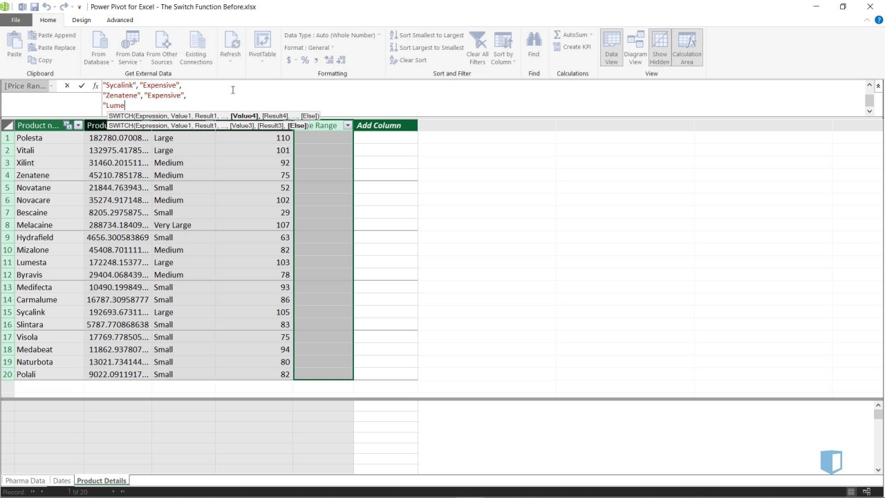 The Switch Function | Online Excel Training | Kubicle