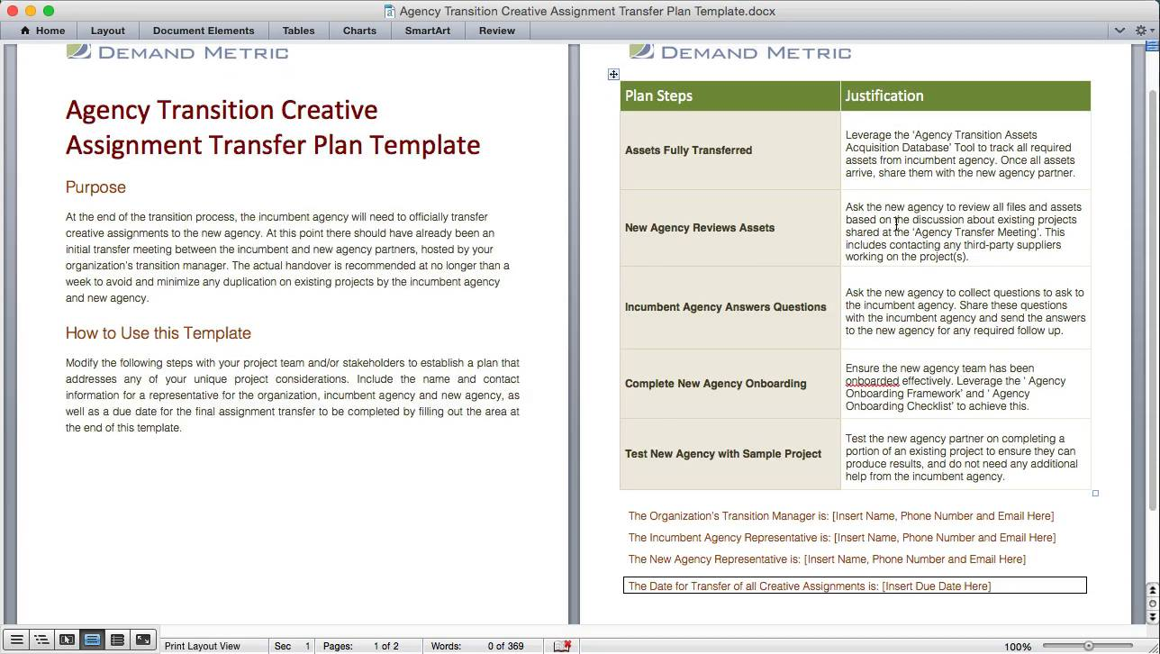 Agency Transition Creative Assignment Transfer Plan Template | Demand Metric
