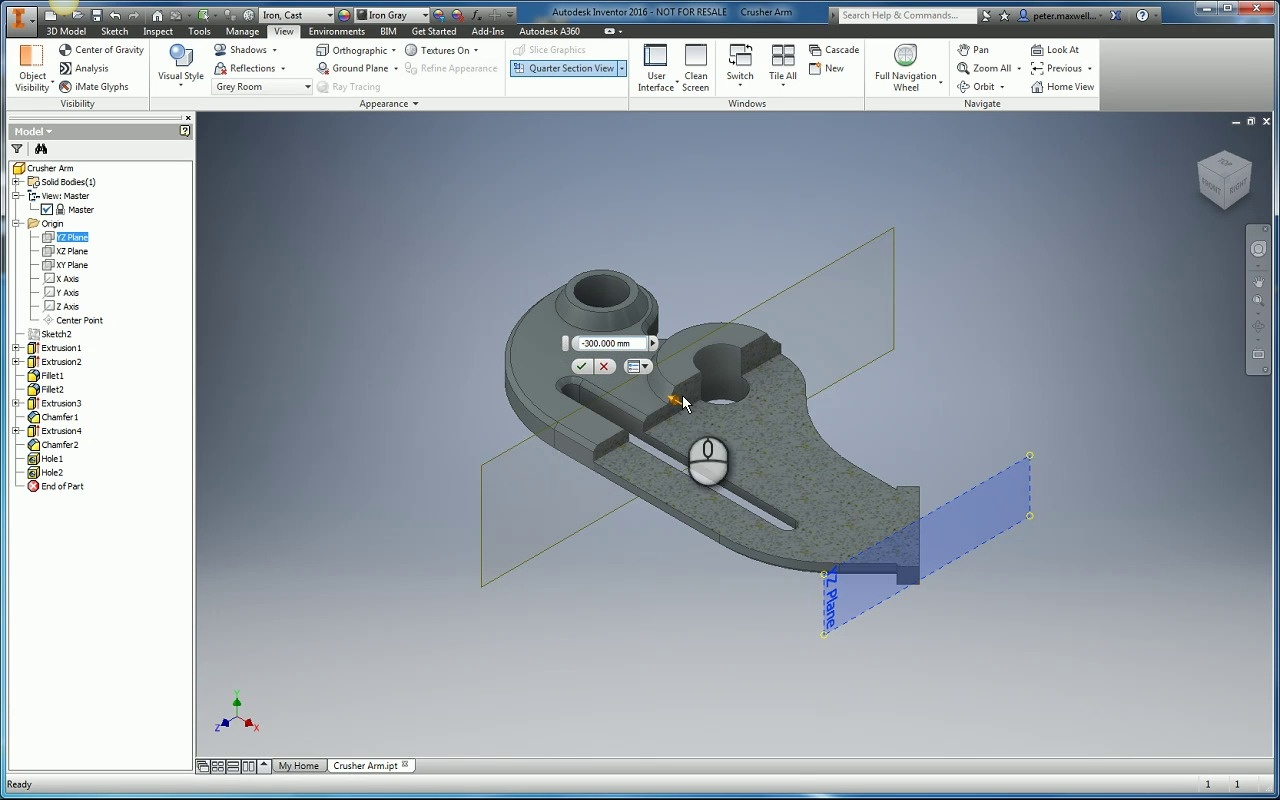 Inventor 2016 Section Views For Parts And Assemblies Cadline Contour Electric Fans Wiring Harness Video Thumbnail