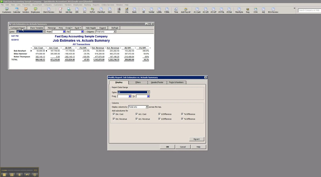 QuickBooks Reports Customized For Your Construction Company