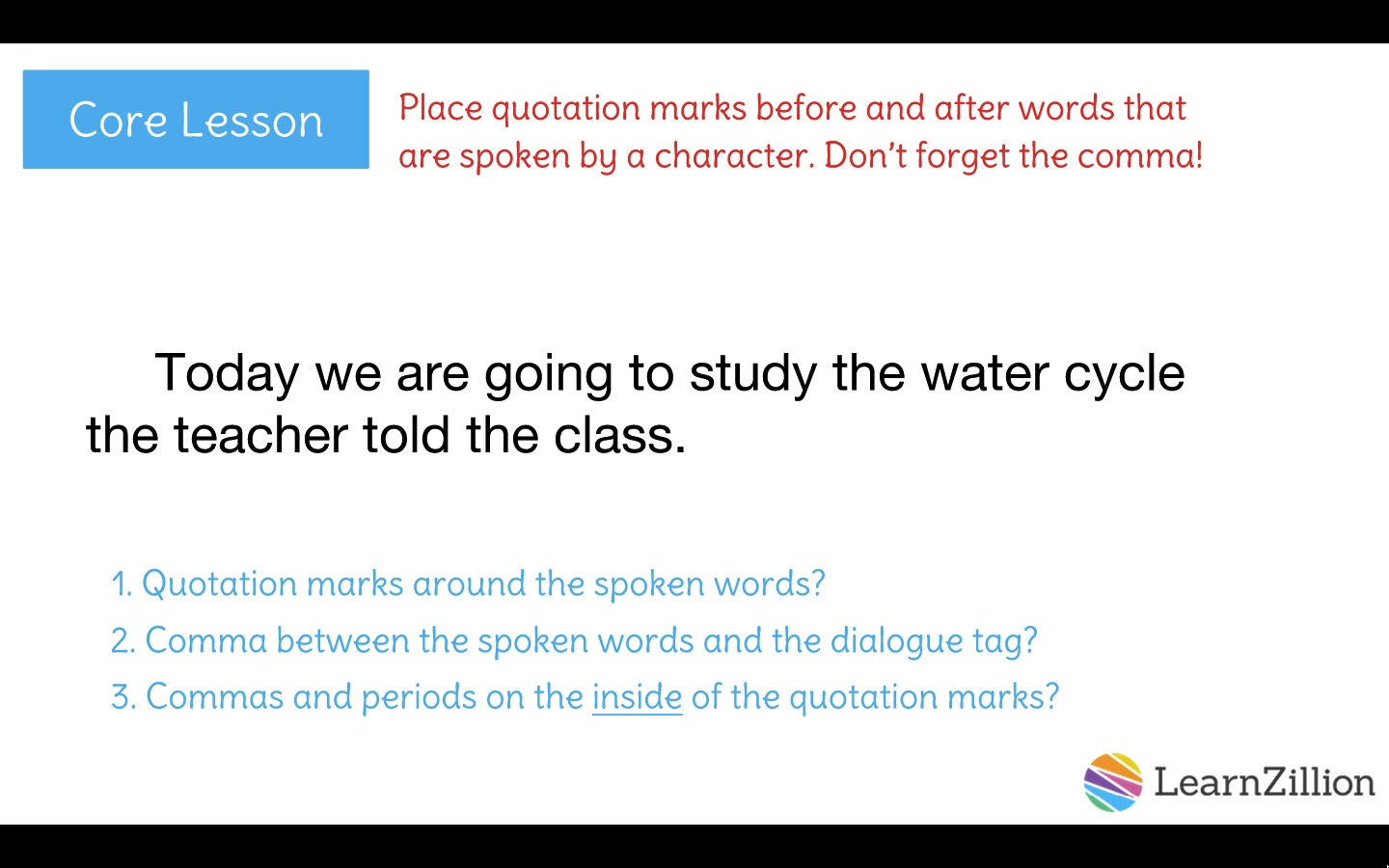 Punctuate dialogue using quotation marks and commas | LearnZillion
