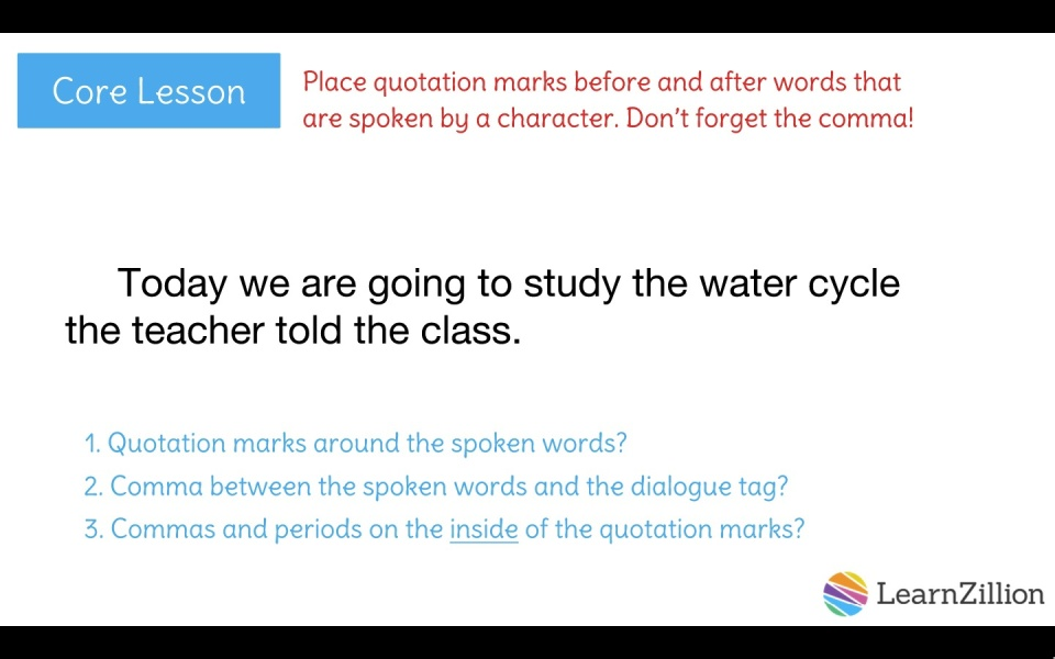 Punctuate Dialogue Using Quotation Marks And Commas Learnzillion