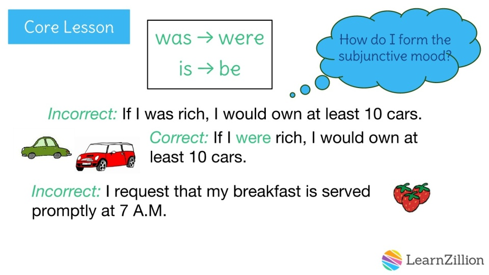 Use Verbs In The Subjunctive Mood Learnzillion