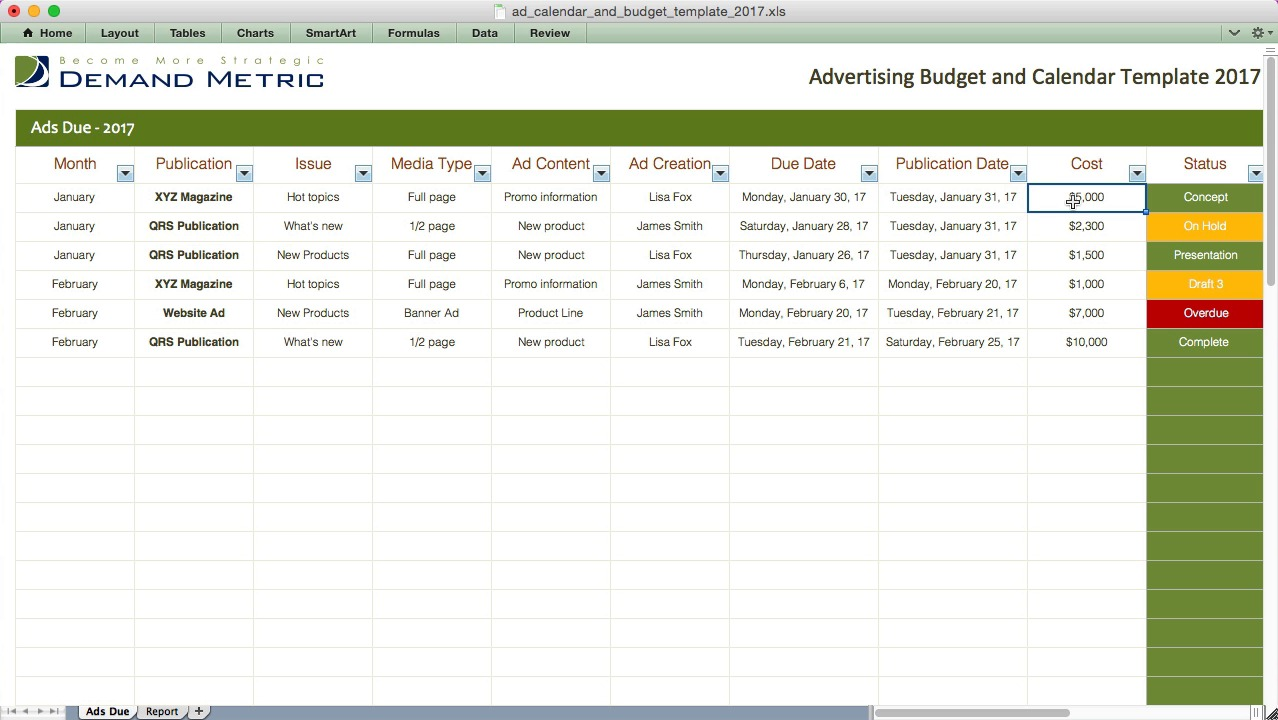 Advertising calendar budget template 2017 demand metric pronofoot35fo Gallery