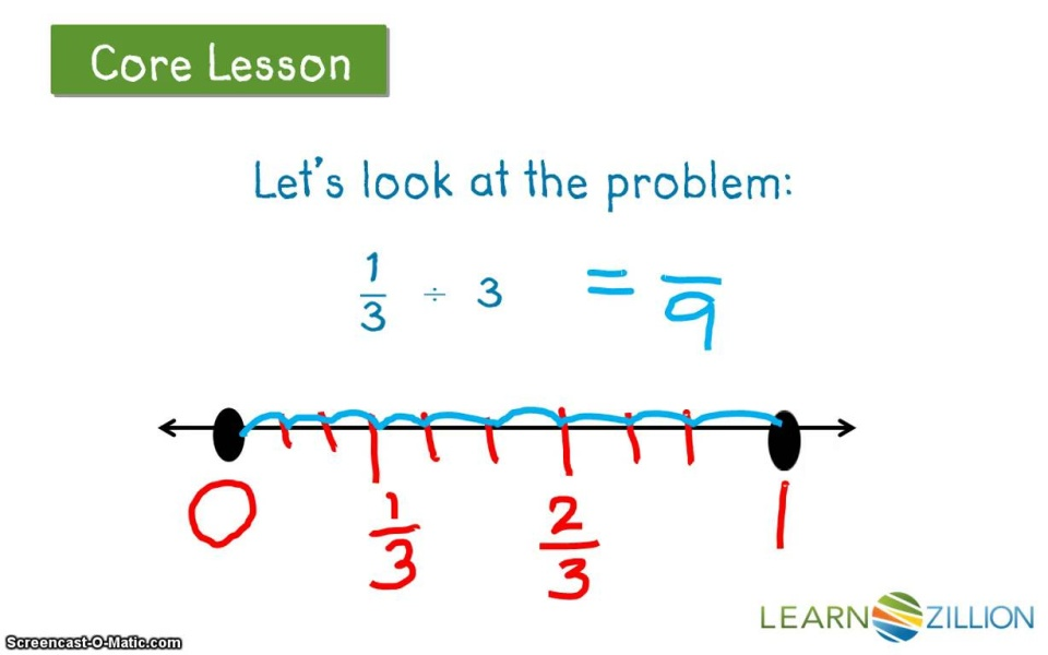 Lesson video for 'Use a number line for division of fractions by whole  numbers'