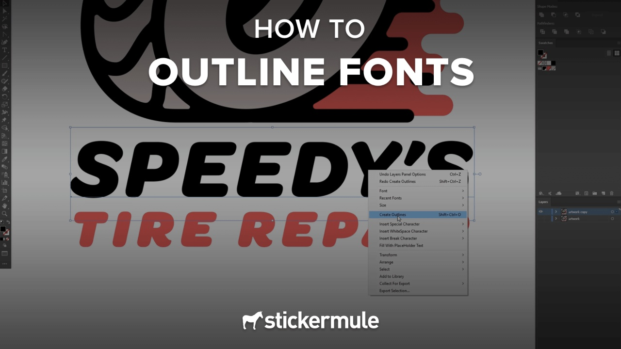 How to outline fonts