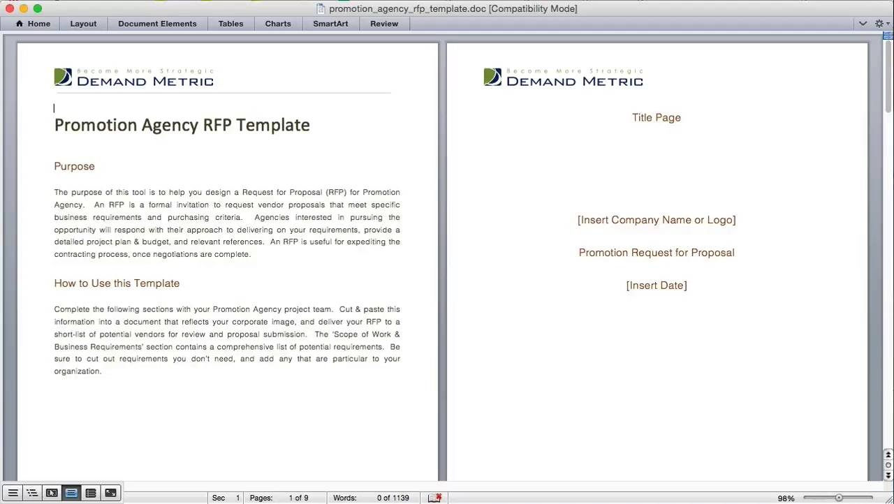 promotion agency rfp template demand metric
