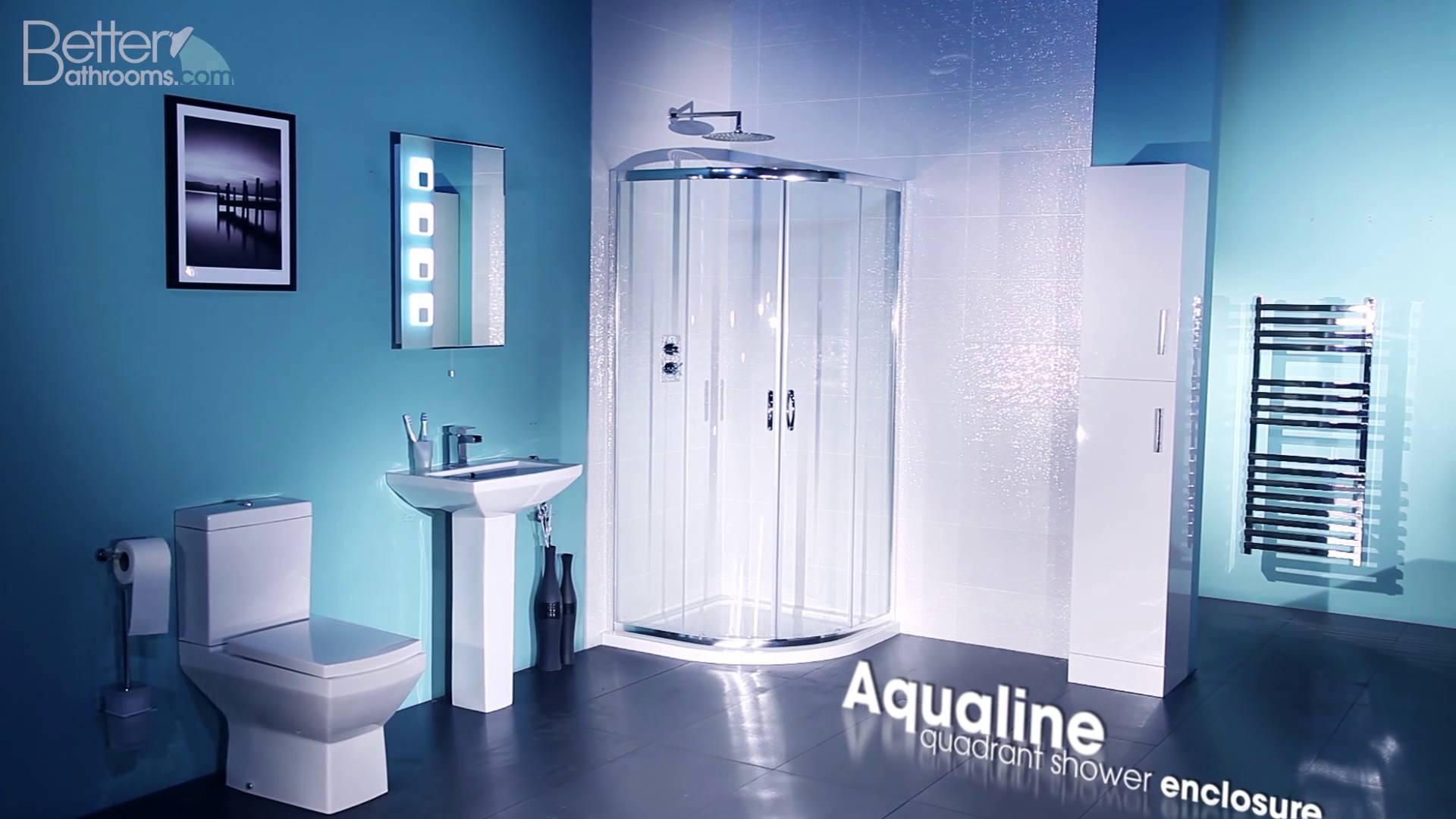 Aqualine™ 4mm 900 x 900 Sliding Door Quadrant Shower Enclosure