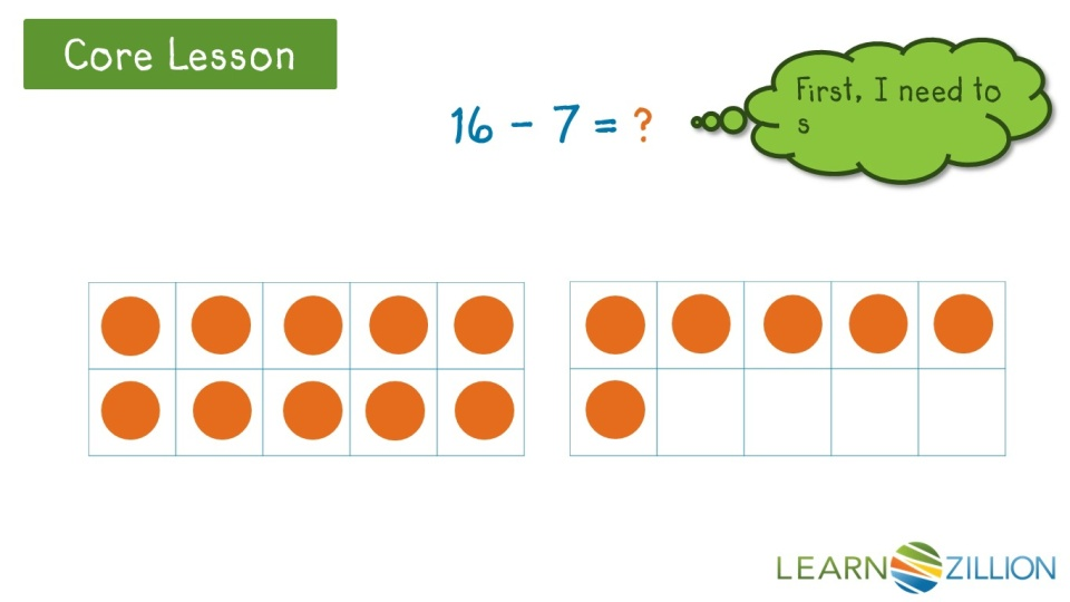 Subtract within 20 using 10 frames | LearnZillion