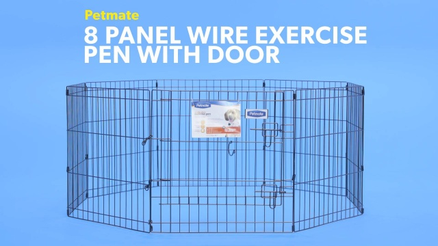 Petmate 8 Panel Wire Exercise Pen with Door, Black, X-Large