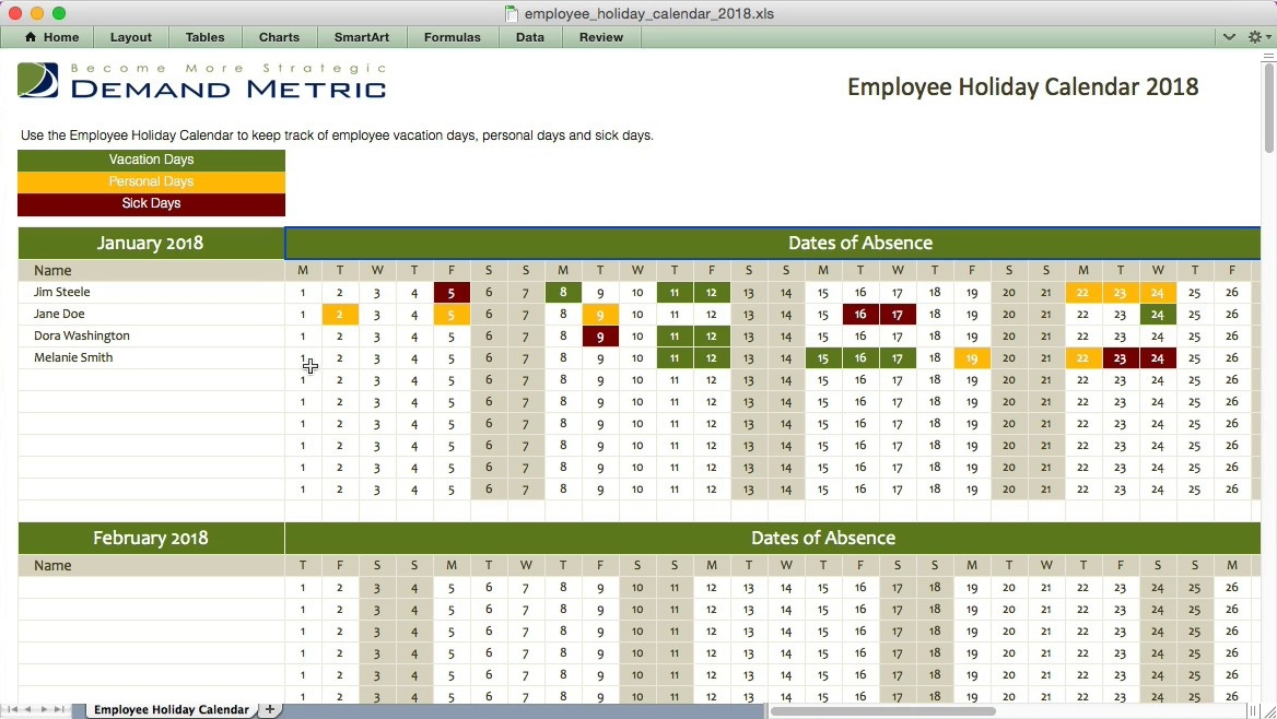 Employee Holiday Calendar 2018 Demand Metric