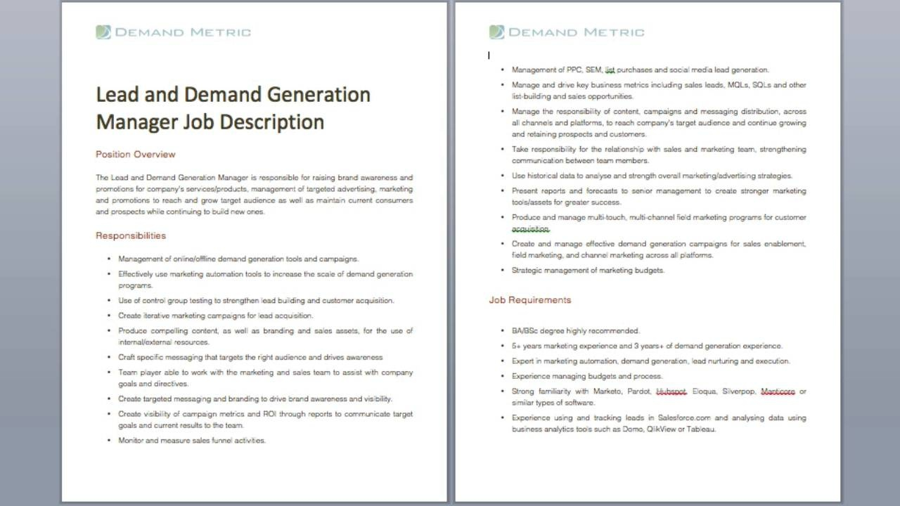 Lead And Demand Generation Manager Job Description Demand Metric