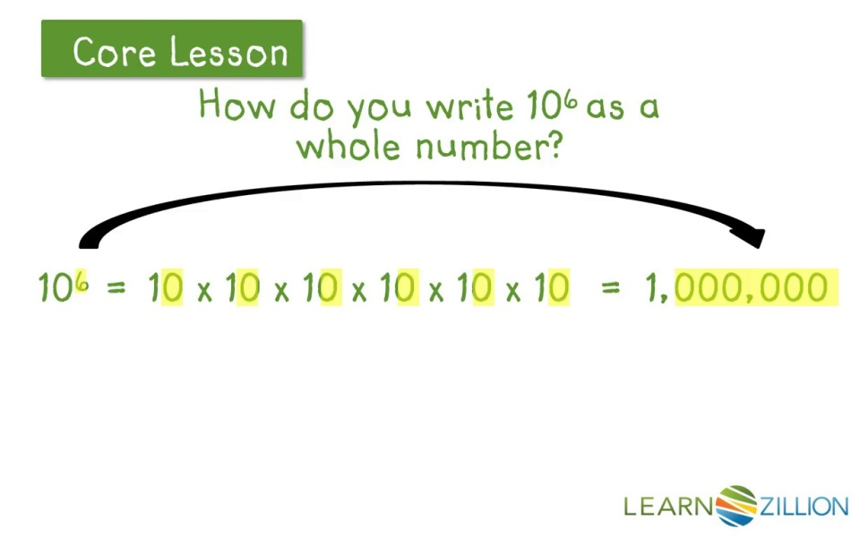 Use Whole Number Exponents To Denote Powers Of Ten Learnzillion