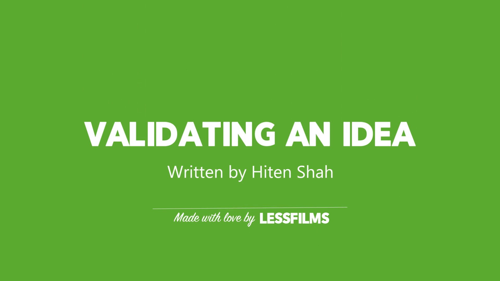 Validating ideas for cheap
