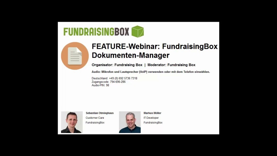 Wistia video thumbnail - FEATURE-Webinar FundraisingBox-Dokumenten-Mananger (German)