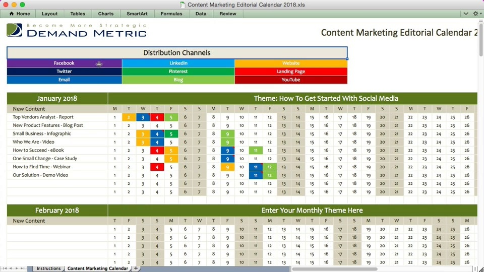 Content Marketing Editorial Calendar Demand Metric - Content calendar template 2018