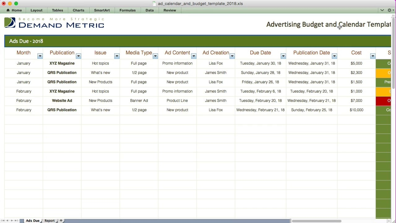 advertising calendar budget template 2018 demand metric