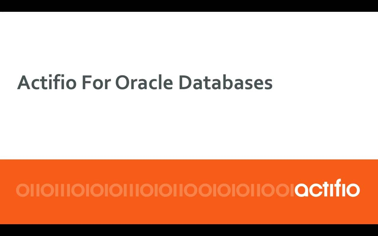 Actifio for Oracle Databases
