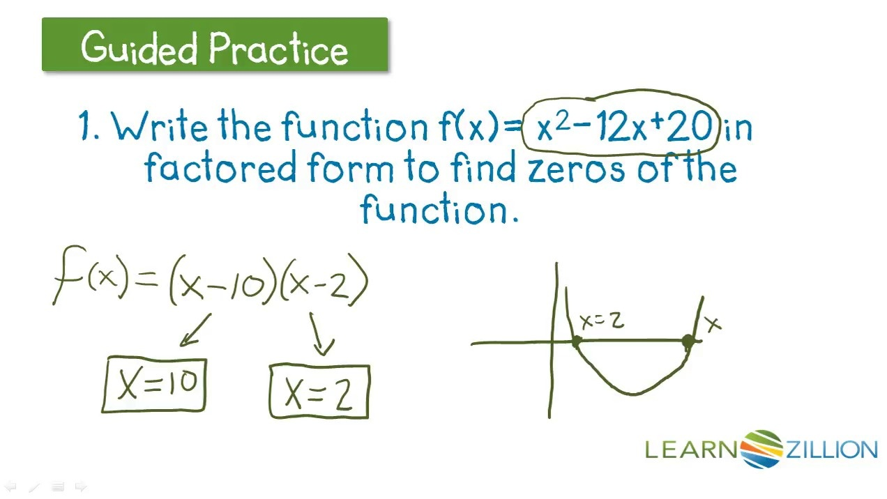 Guided Practice For Identify The Zeros Of A Quadratic Function In