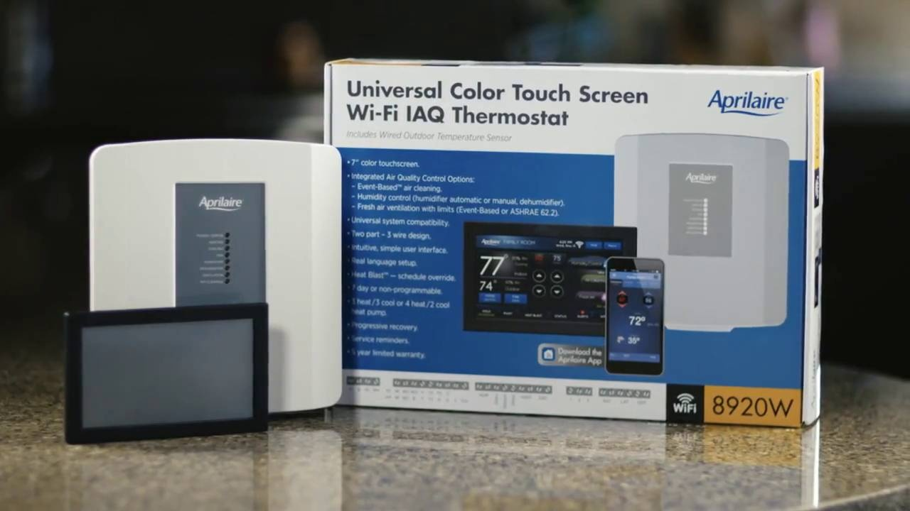 Aprilaire Universal Touch Screen Wi Fi 8920w Thermostat Sylvane Williams Wall Furnace Wiring Diagram A Video Thumbnail