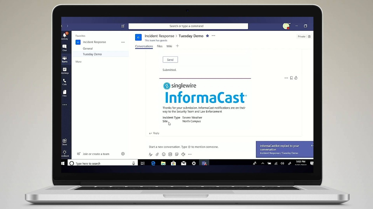 Microsoft Teams and Singlewire InformaCast Integration
