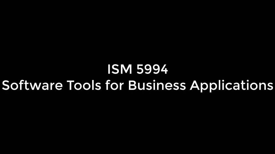Wistia video thumbnail - ISM 5994 Introduction