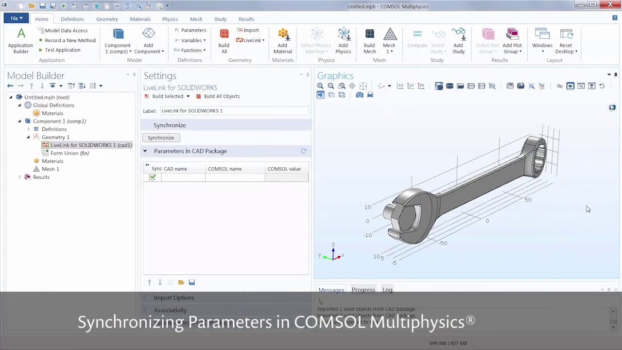 Tutorial_Synchronize Parameters Between {:solidworks} and {:comsolmph}