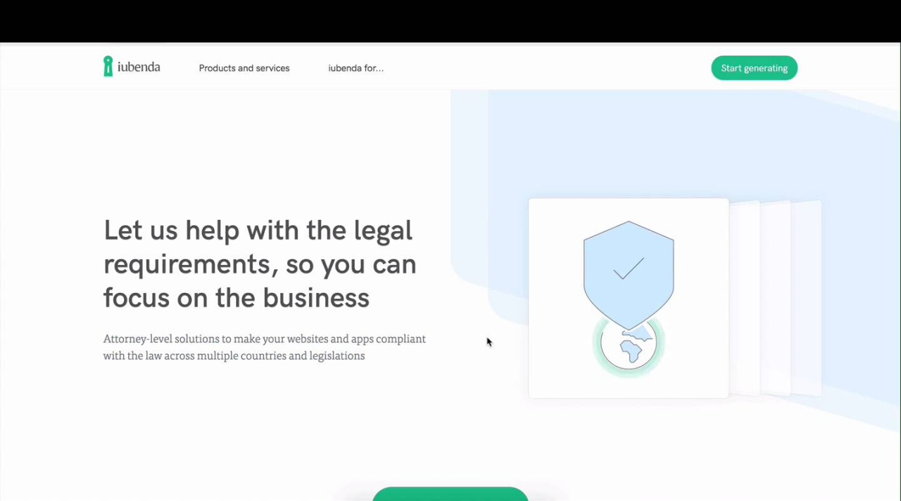 Help And Documentation Privacy Cookie Policy Generator Iubenda - Legal form generator