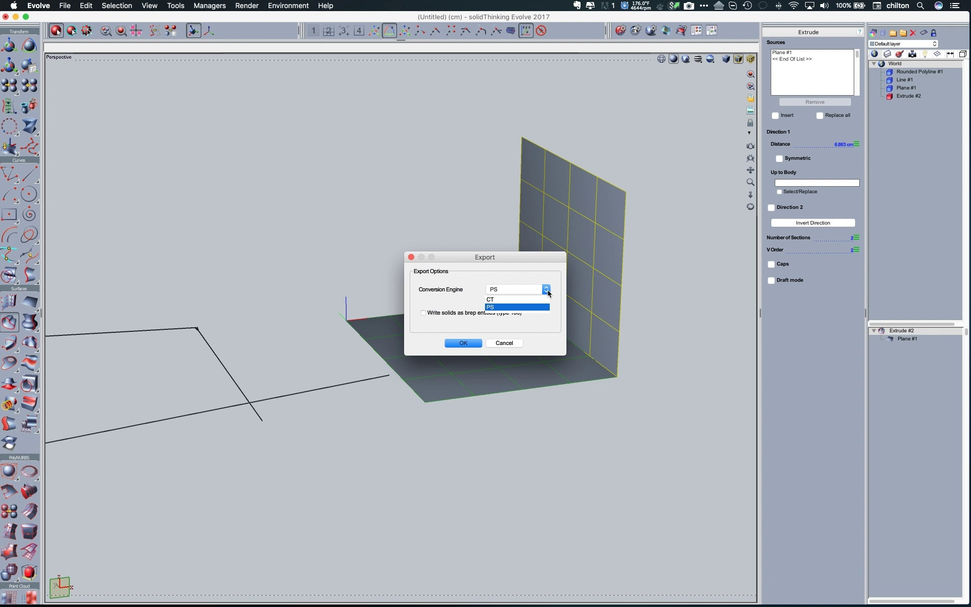 solidThinking Evolve 2017 - File Types, Lines, and Extrude