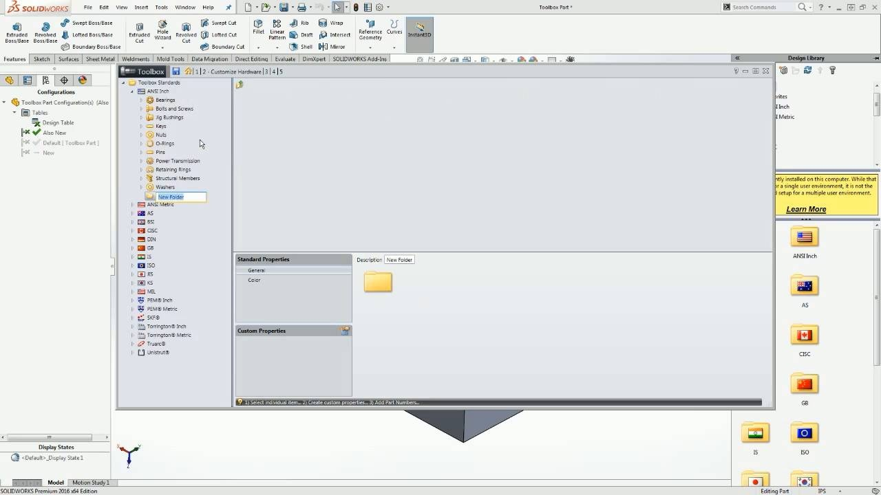 [VTT] Custom Toolbox Components in SOLIDWORKS