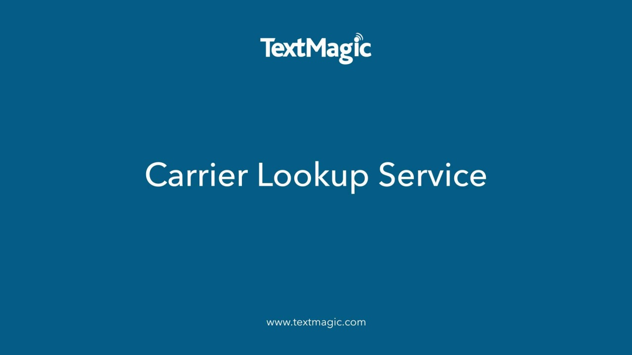 Carrier Lookup Service Landing page