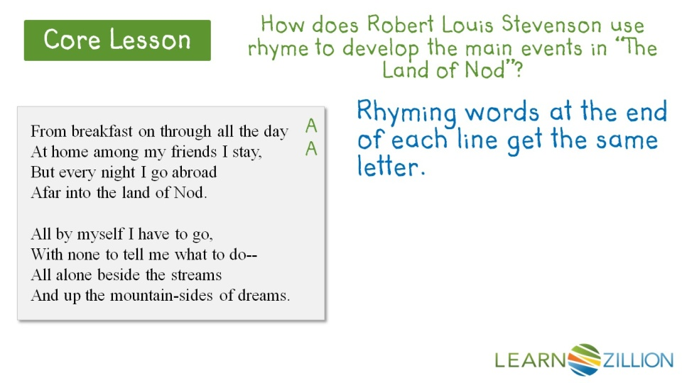 determine how the author is using rhyme scheme to convey a message