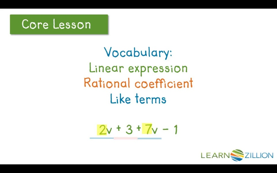 Add Linear Expressions By Combining Like Terms Learnzillion