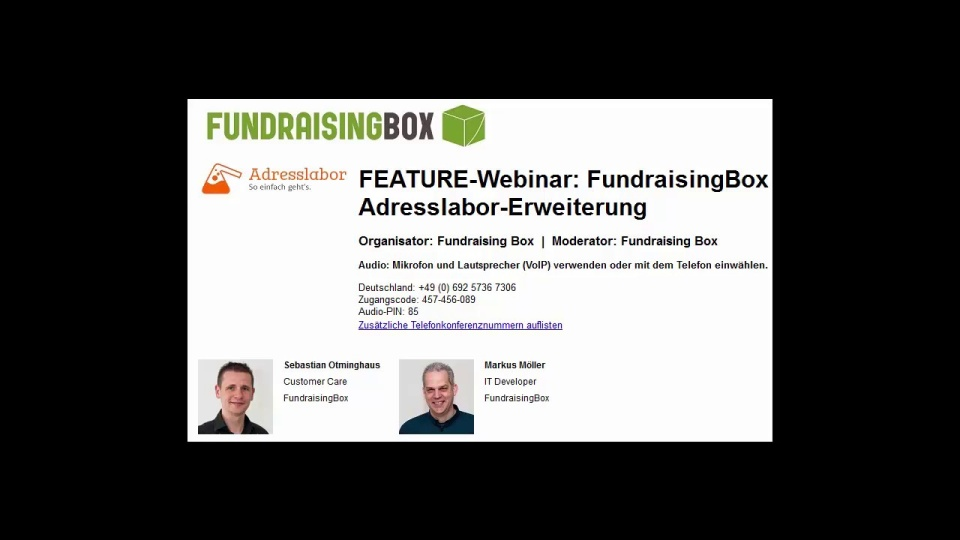 Wistia video thumbnail - FEAUTRE-Webinar FundraisingBox-Adresslabor Erweiterung (German)