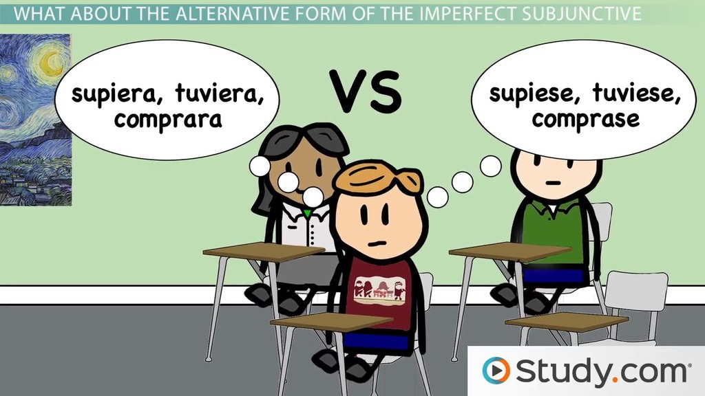 Conjugations And Alternate Of The Imperfect Subjunctive In Spanish Video Lesson Transcript Study Com