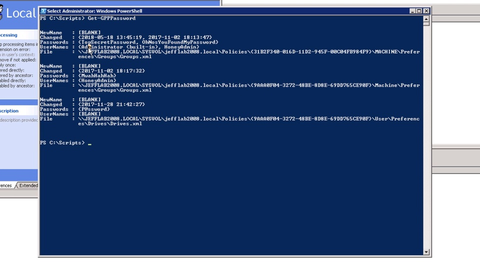 AD Security - Find Passwords SYSVOL Group Policy Preferences