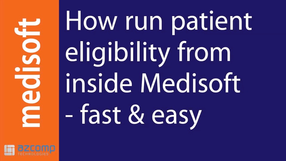 Medisoft Training How To Run Patient Eligibility From Inside