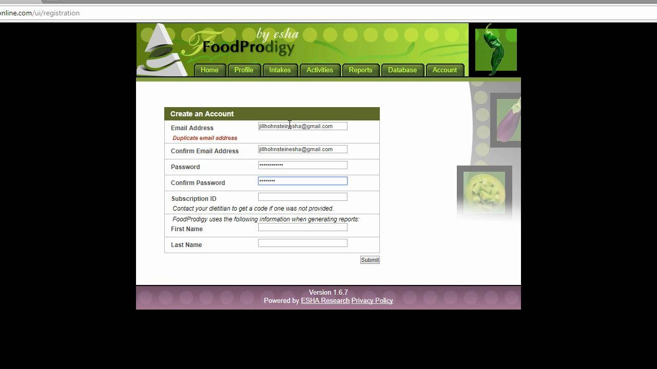 Registering to Use FoodProdigy: For Clients
