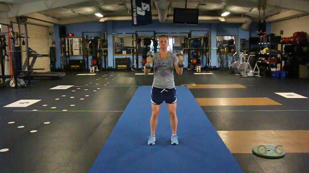 8  Dumbbell squat to press