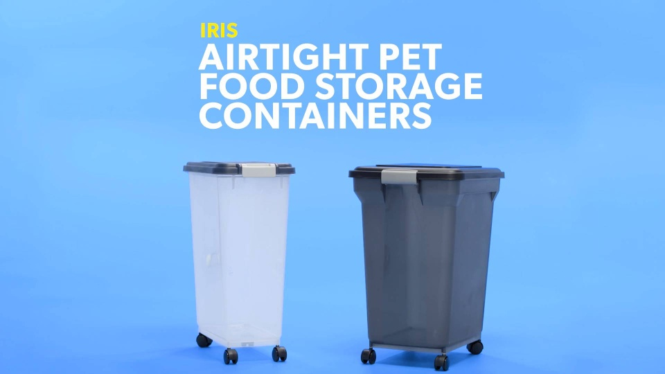 230ebf40b535 IRIS Airtight Pet Food Storage Container, Clear/Navy, 69-qt - Chewy.com