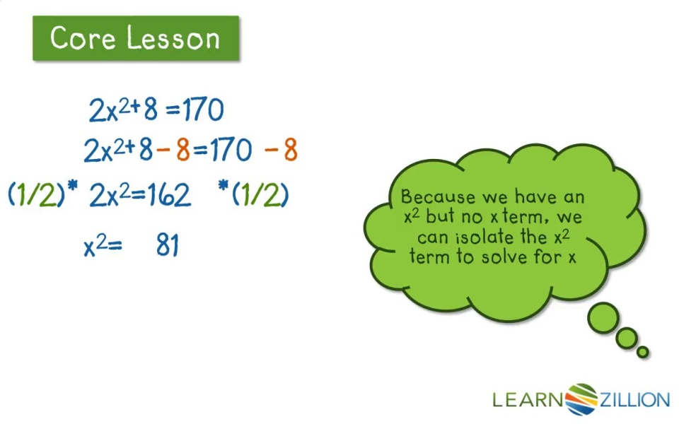 Solve A Quadratic Equation By Taking A Square Root Learnzillion