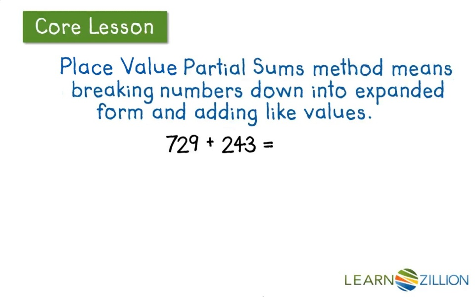 Solve Addition Problems Using The Partial Sums Method Learnzillion