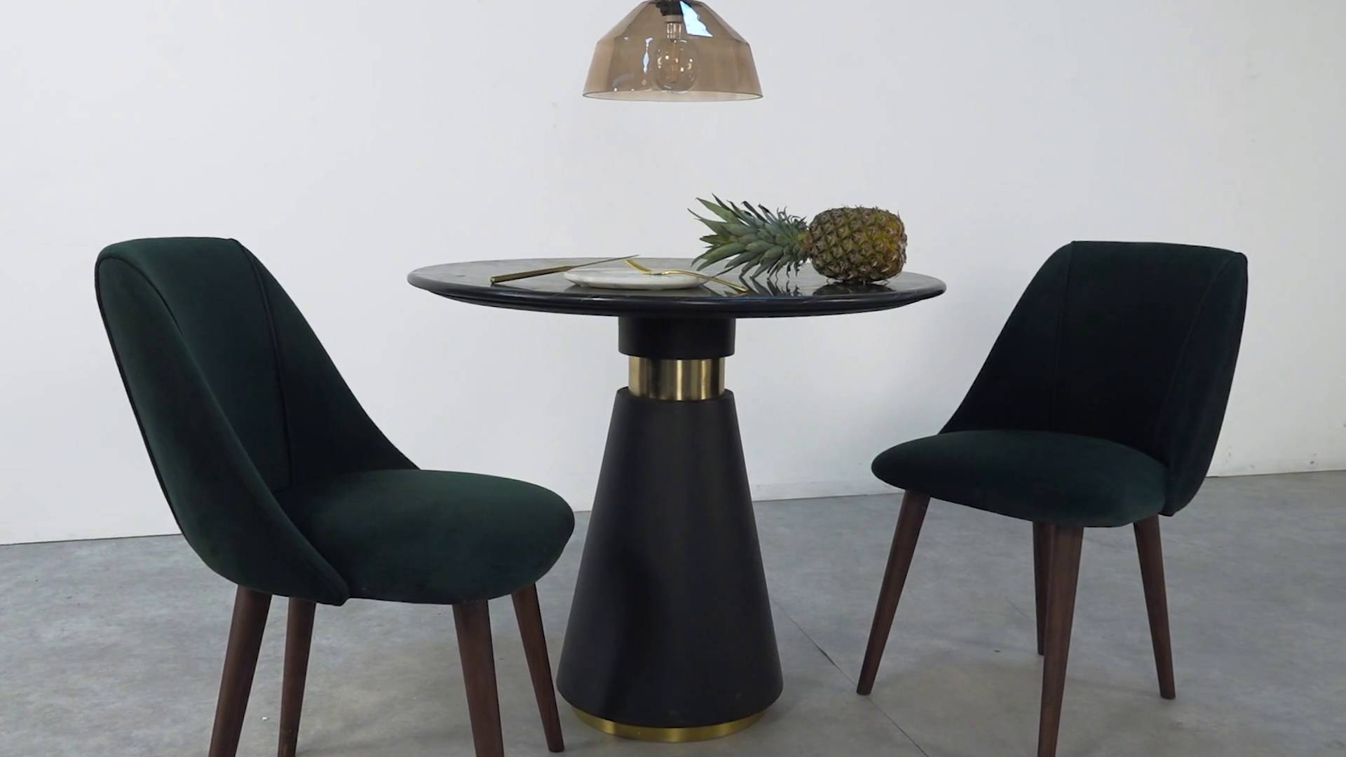 bimba dining table, black marble and brass | made