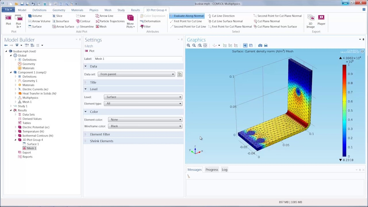 Tutorial_Visualize a Model's Mesh and Solution in One Plot