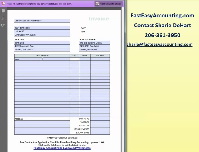 Wistia video thumbnail - FREE Invoice Template PDF For Contractors Compliments Of Fast Easy Accounting 206-361-3950