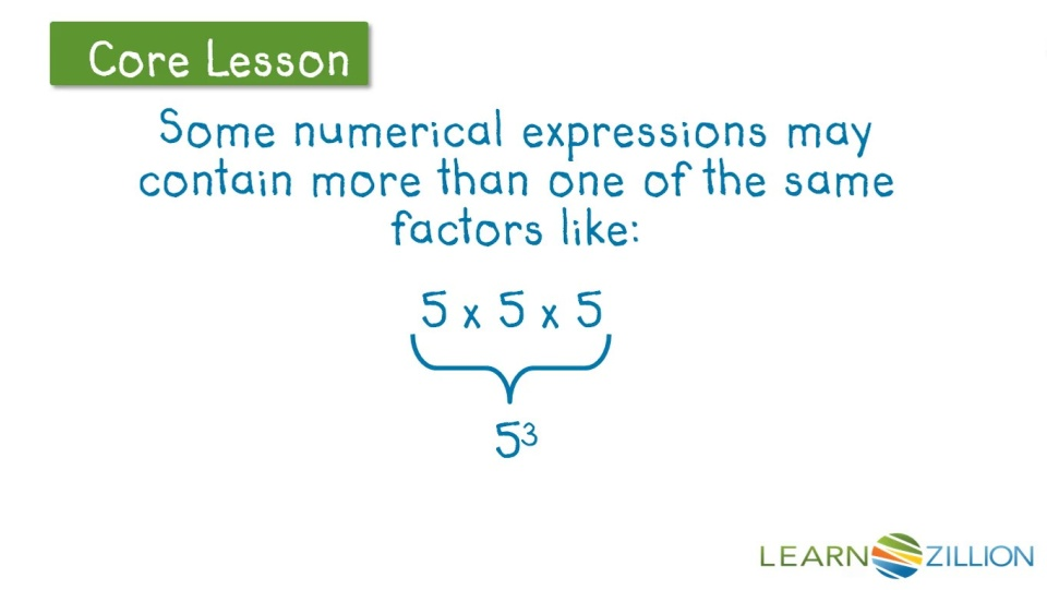 Write Numerical Expressions Involving Whole Number Exponents