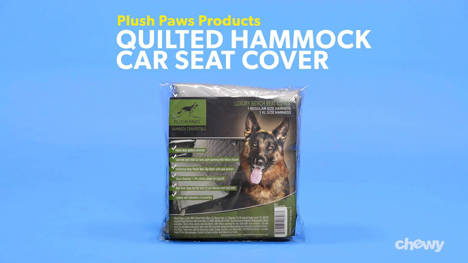 Plush Paws Products Quilted Hammock Car Seat Cover Black Regular Chewy
