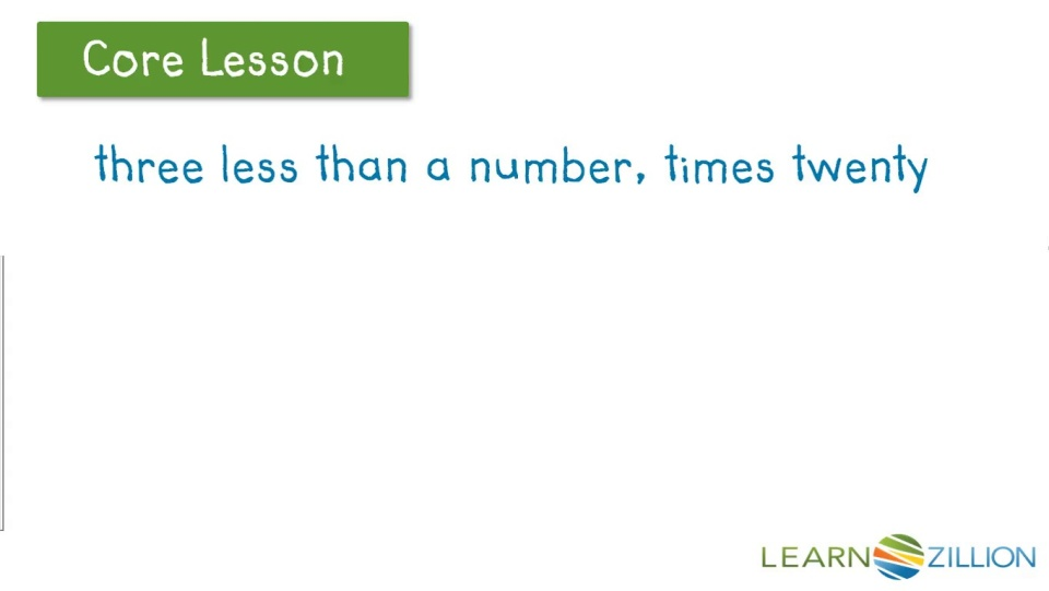 Read And Write Algebraic Expressions Using Parentheses Learnzillion